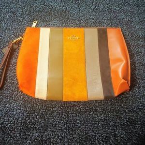 Coach Large Handcrafted Leather & Suede Clutch